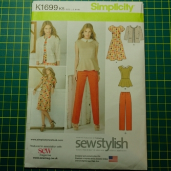 Simplicity 1699 pattern Peplum top, dress, trousers and jacket